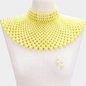Yellow Gold Pearl Armor Bib Choker Necklace